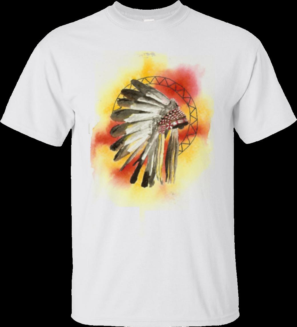 Watercolor Native American Headdress T Shirt Gildan - Zazzle Native American Headresss Key Ring (1155x1155), Png Download