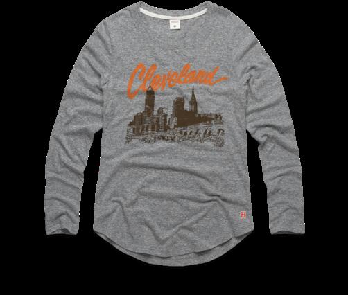 49938167e08d Women's Cleveland Skyline Long Sleeve Tee Retro Ohio - Long-sleeved T-shirt  (