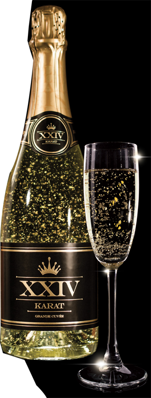 The Golden Flakes In Each Bottle Of Xxiv Karat Grande - Champagne With Gold Flakes (303x796), Png Download
