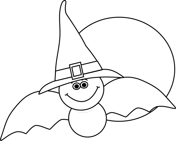 Halloween Clipart Png Black And White - Halloween Black And White Bat (600x484), Png Download