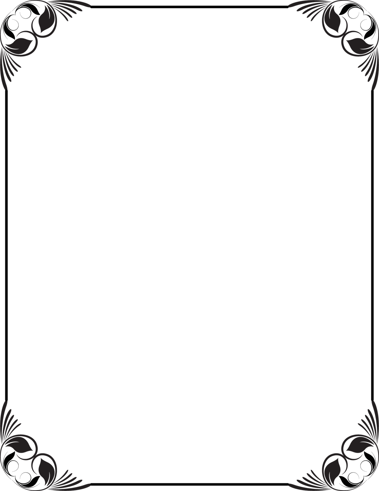 Collection Of Free Frames Vector Black And White On - Black And White Frame Borders Design (1235x1600), Png Download