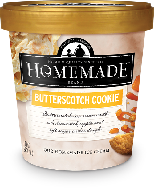Homemade Brand Butterscotch Cookie Ice Cream Pint - Homemade Cookie Dough Ice Cream Brand (500x610), Png Download