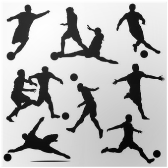 Download Various Vector Soccer Player Silhouettes Poster Pixers