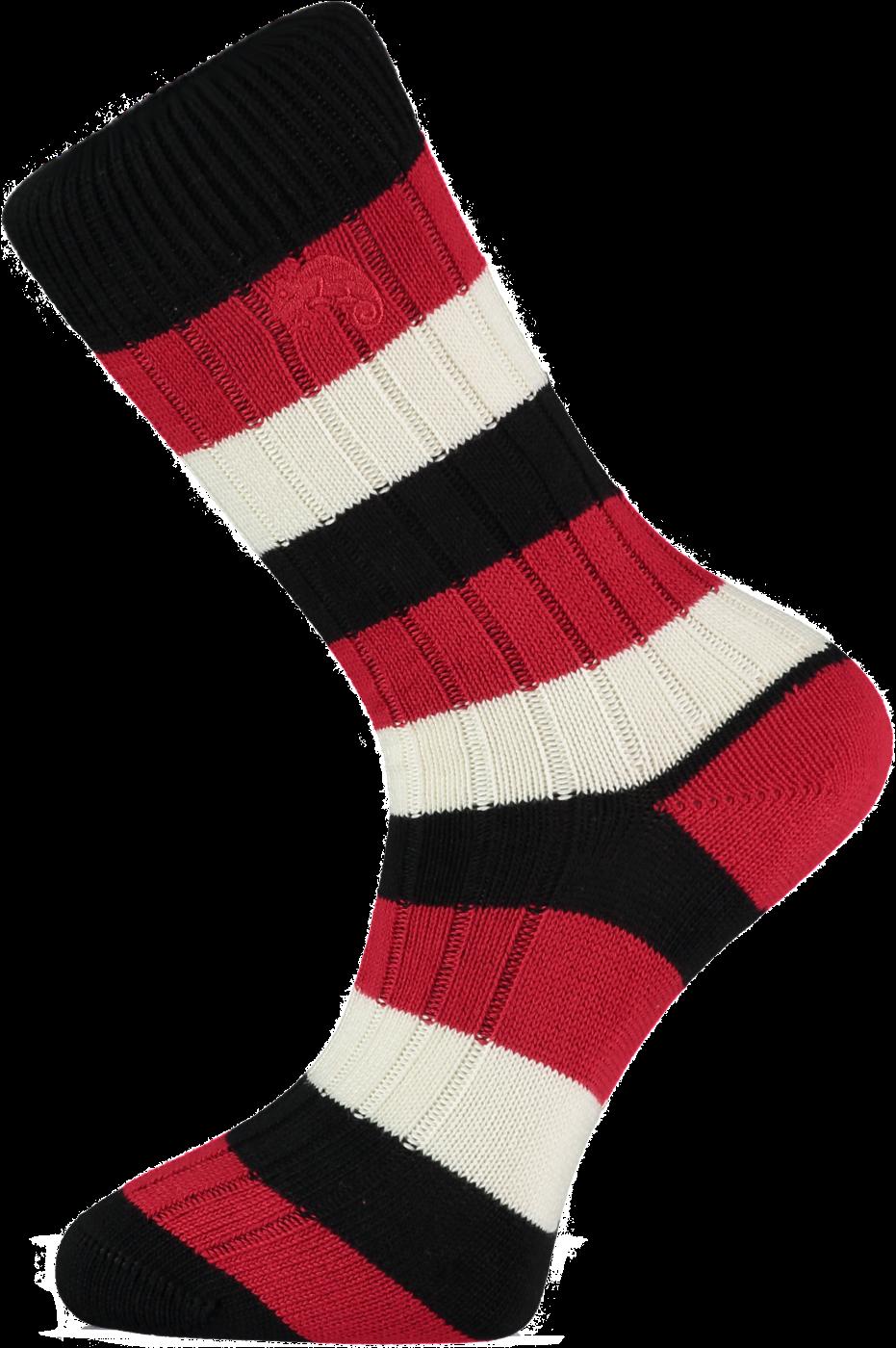 Black Red and White Striped Socks