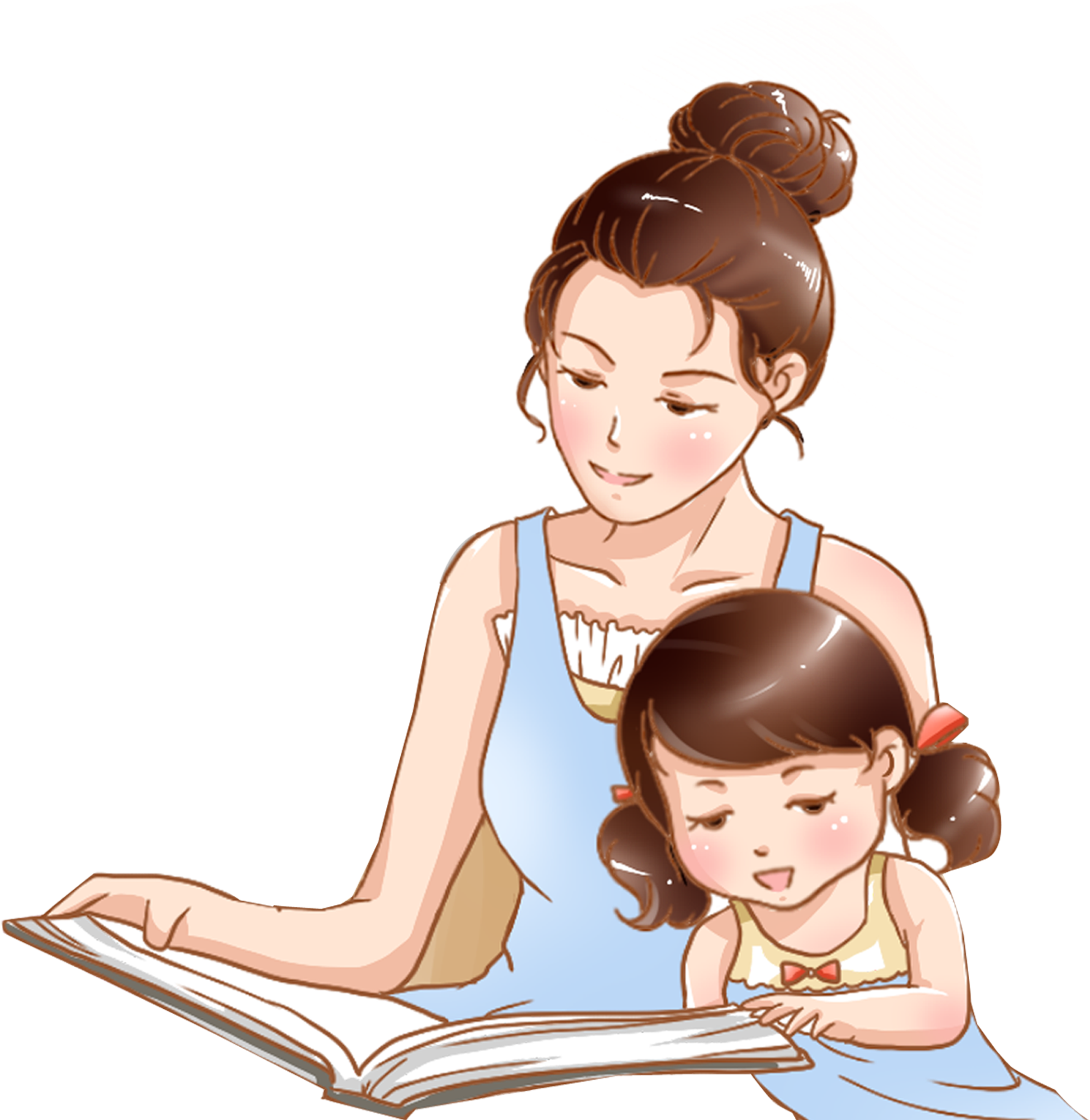 Download Hand Drawn Cartoon Mother Child Reading Decorative - การ์ตูน แม่  และ เด็ก PNG Image with No Background - PNGkey.com