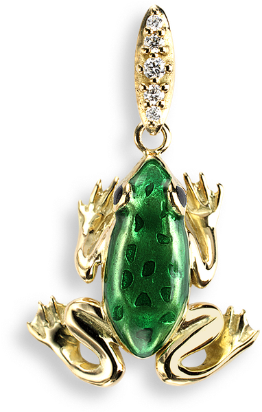 Nicole Barr Designs 18 Karat Gold Necklace Frog Green - Diamonds Green Frog Stud Earrings - 18k Gold (800x800), Png Download