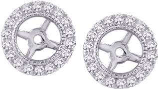 27ctw Diamond Earring Jackets - Diamond Earring Jackets In 14k White Gold (1/4 Cttw) (570x570), Png Download