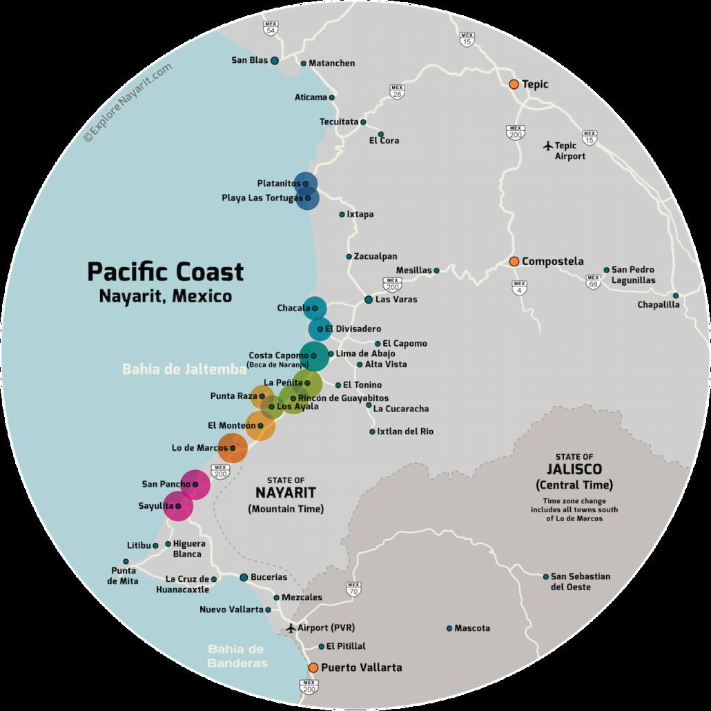 Download Nayarit Coast Driving Distance Map - Divisadero ...