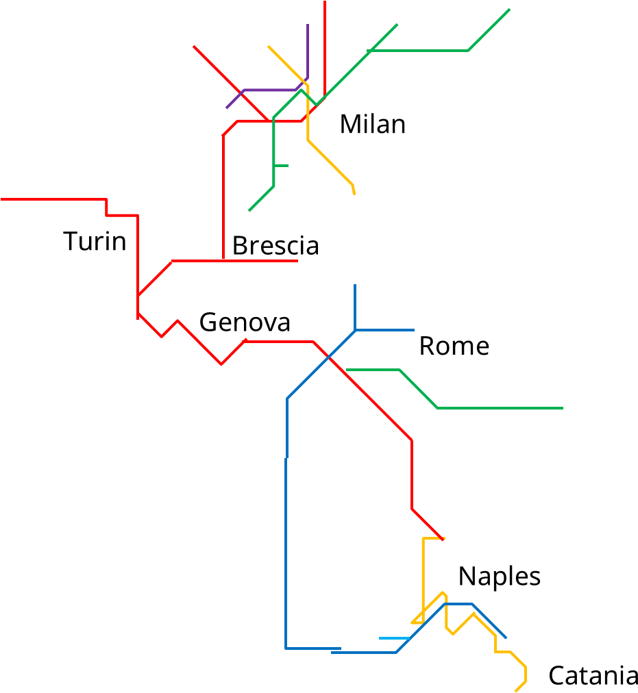 Italy Metro Map.Download Metro Map Of Italy Diagram Png Image With No Background