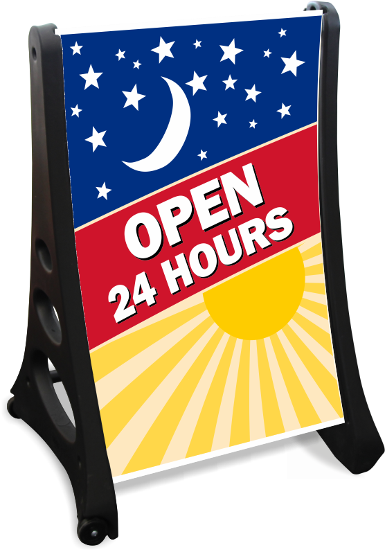 download open 24 hours a frame portable sidewalk sign kit sign png image with no background pngkey com frame portable sidewalk sign kit sign