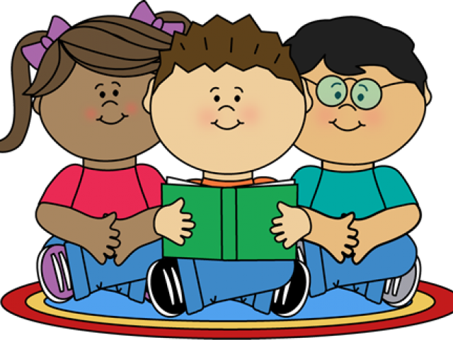 Image Of School Children Reading Clipart - Reading Class Clip Art (450x324), Png Download