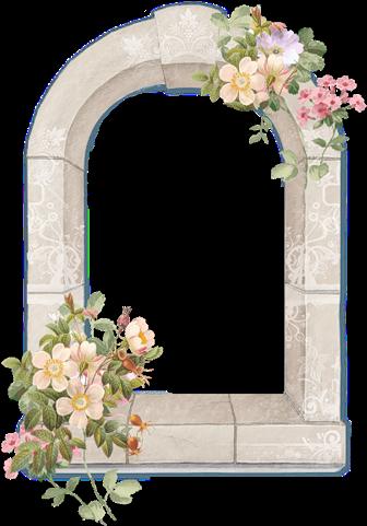 Cadres Et Bordures - Window With Flowers Png (500x500), Png Download