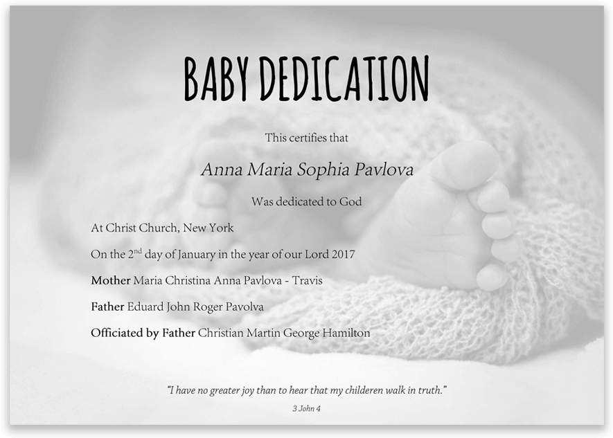 Download Baby Dedication Certificate With Baby Feet In Blanket
