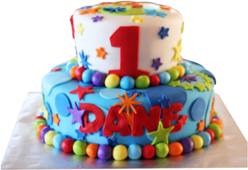 Colorful Cake For The First Birthday
