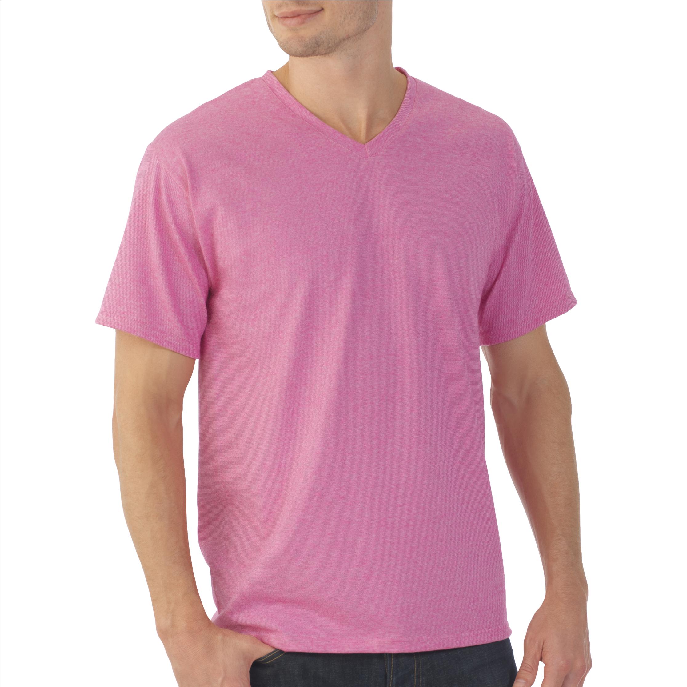 a3a4b6e1 Men's Eversoft Micro Stripe V Neck T Shirt - Fruit Of The Loom Men's  Platinum Eversoft