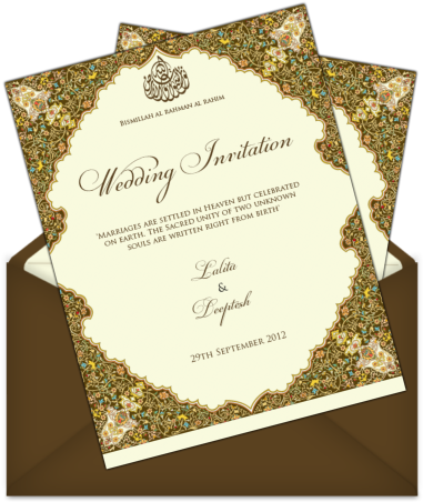 Download Muslim Marriage Invitation Card Design Letter Style