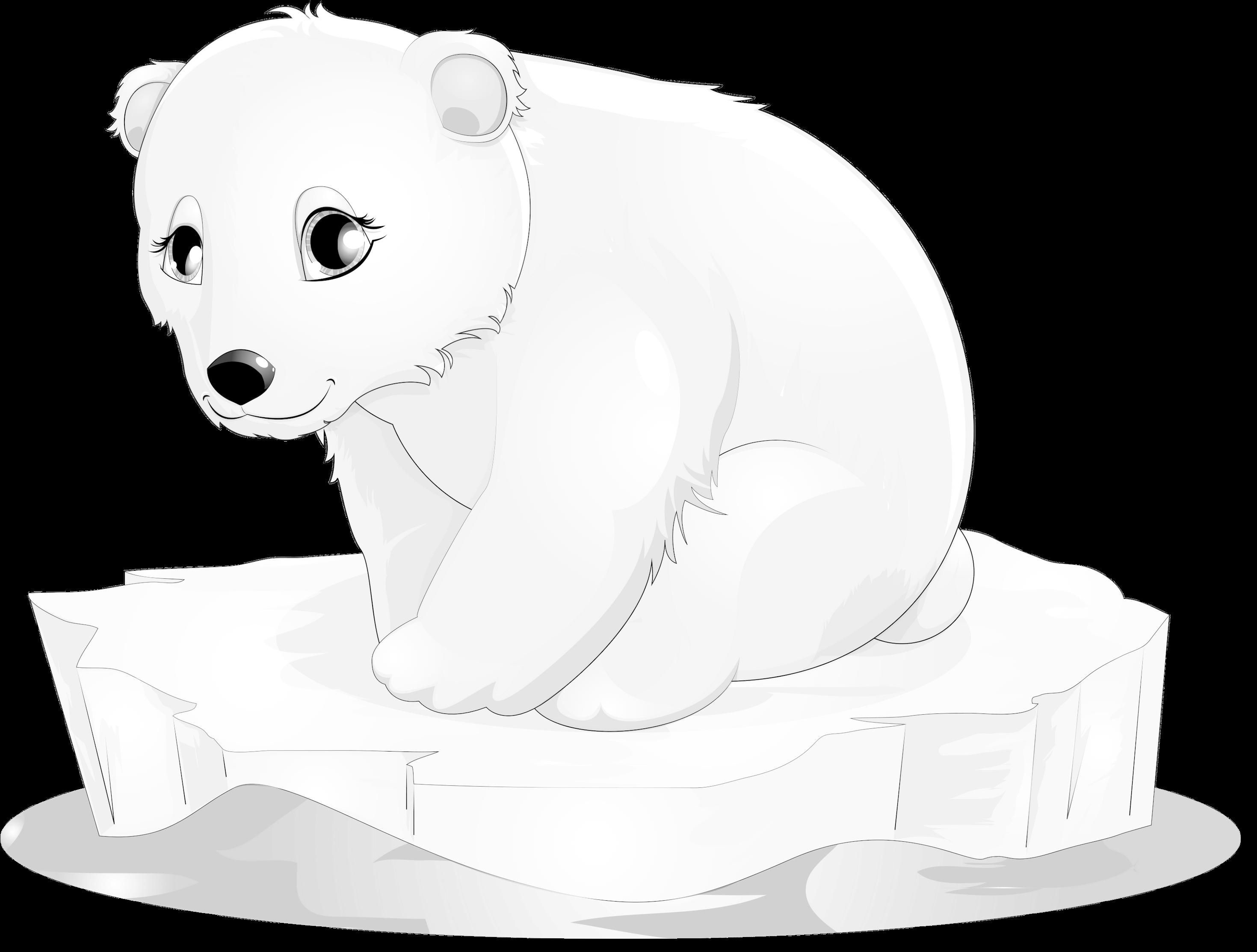 Polar Bear Clipart - Polar Bear Baby Clipart (2999x2329), Png Download