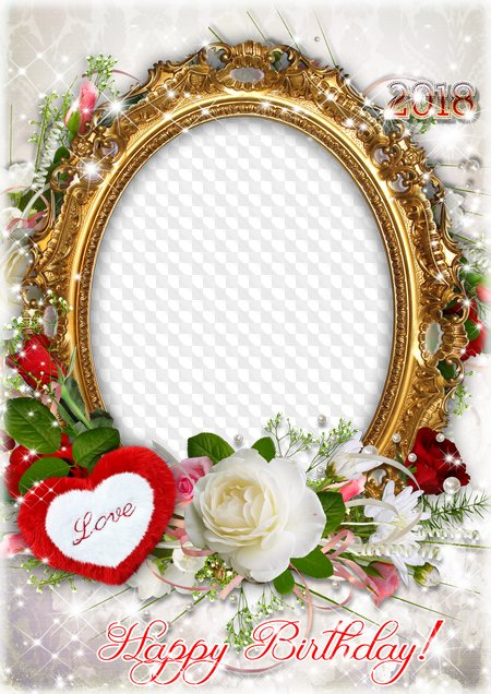 Birthday Photo Frame For Photoshop - Happy Birthday Love Frame Png (450x636), Png Download