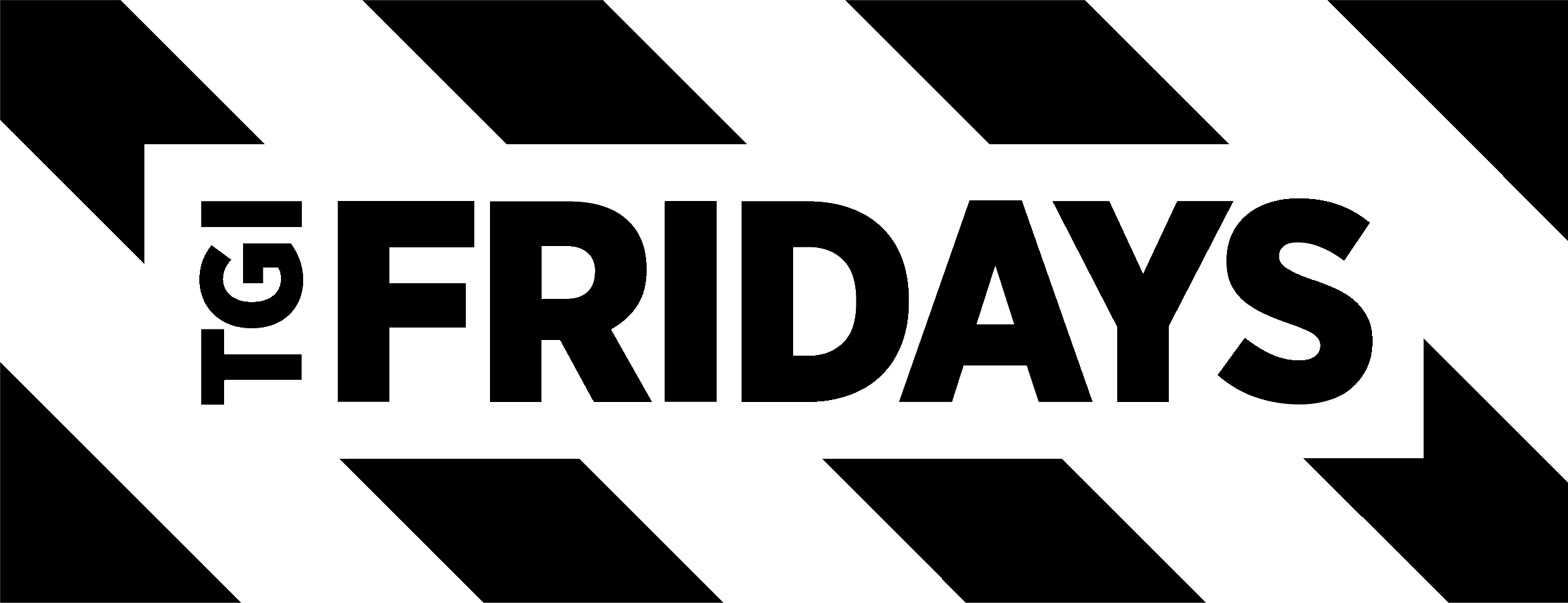 Tgi Fridays Logo Black And White - T.g.i. Friday's (2400x924), Png Download