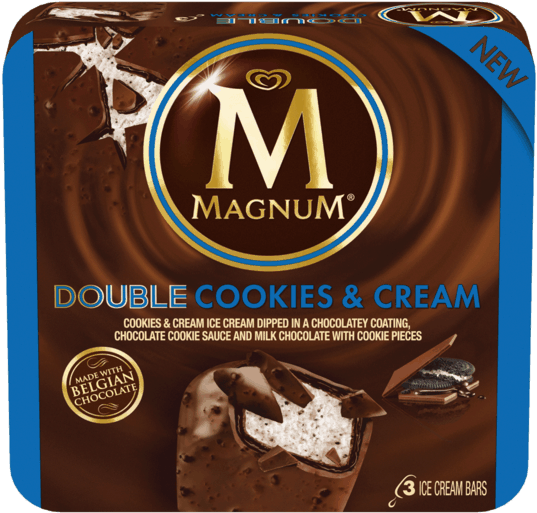 75 For Magnum® Ice Cream Bars - Magnum Double Cookies And Cream (600x600), Png Download