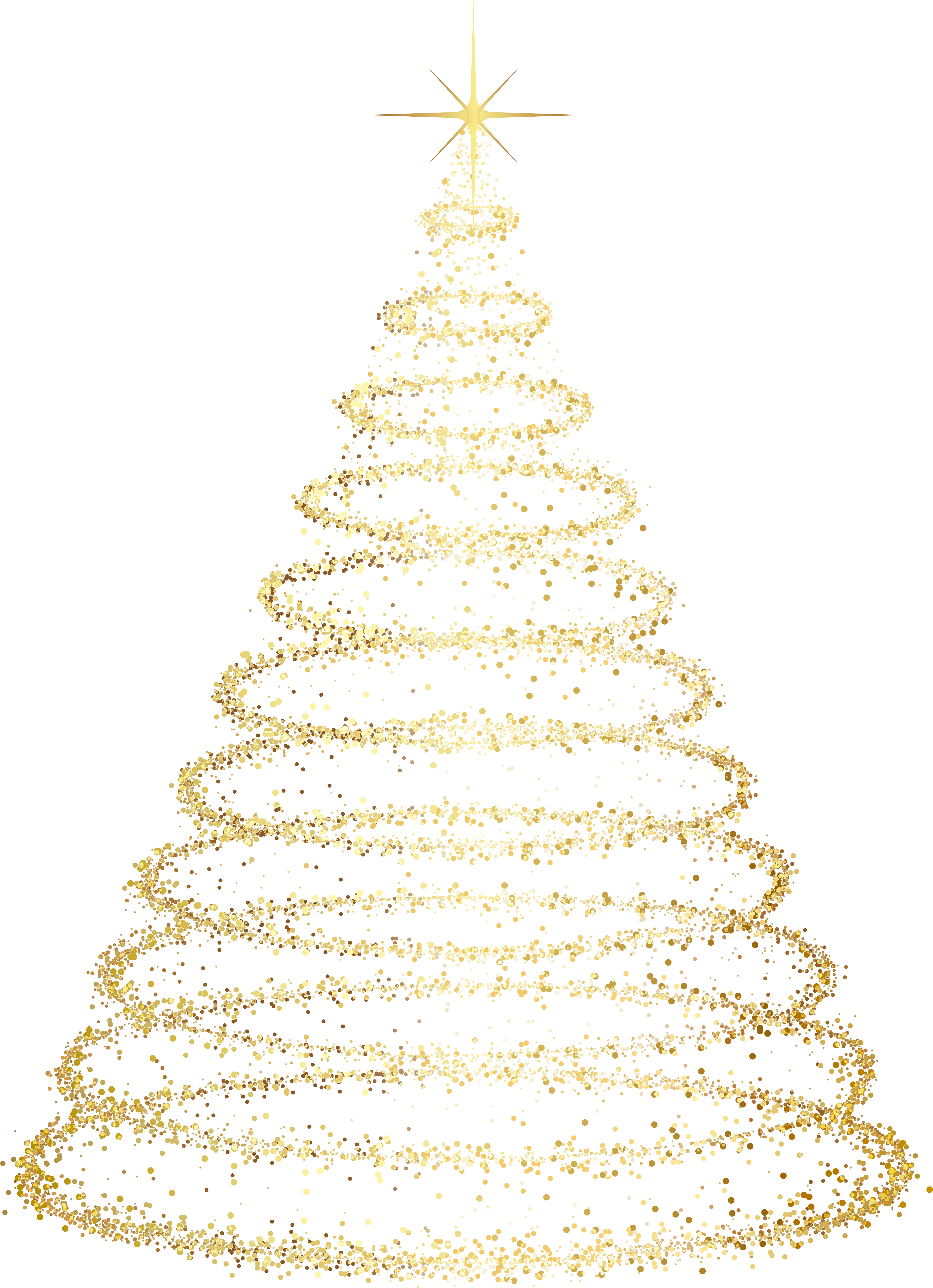 Gold Deco Christmas Tree Transparent Clip Art Image - Christmas Tree Png Transparent Background (4345x6000), Png Download
