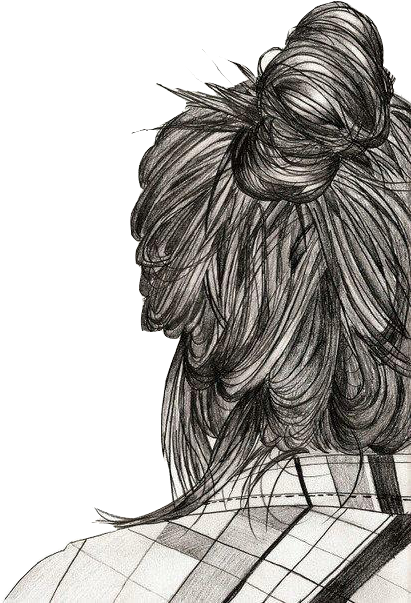 Download Girl Cute And Hair Image On We Heart It Messy Bun Sketch Girl Drawing Png Image With No Background Pngkey Com