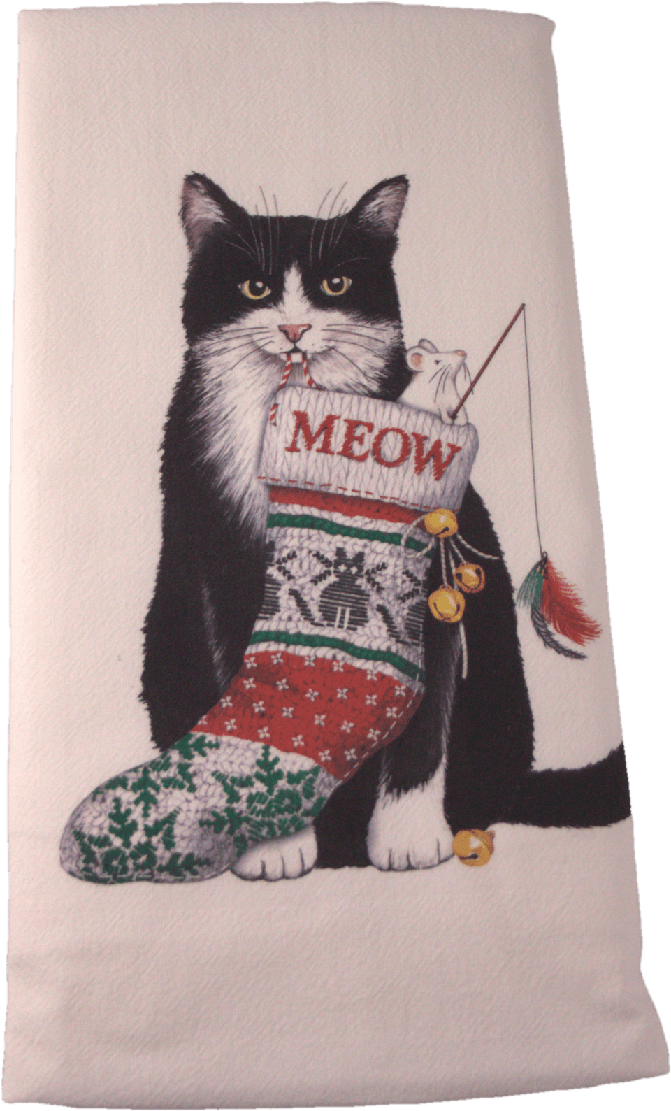 Tuxedo Cat Christmas Flour Sack Dish Towel - Domestic Short-haired Cat (1001x1622), Png Download