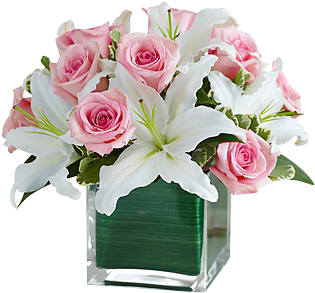Download Pink Roses And White Lilies - 1-800 Flowers Modern ...