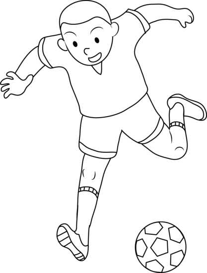 Download Coloring Page Of Boy Playing Soccer Free Clip Art