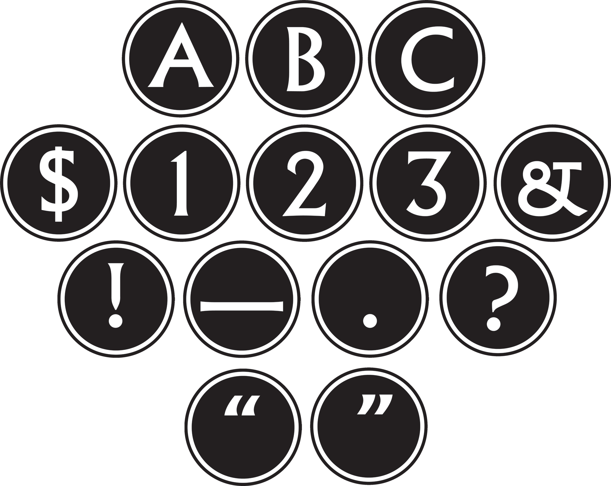 Big Bold Black & White Circle Letters - Letters In Black Circle (2000x1591), Png Download