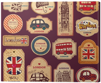 Download Vintage Tags And Labels With London Symbols Canvas