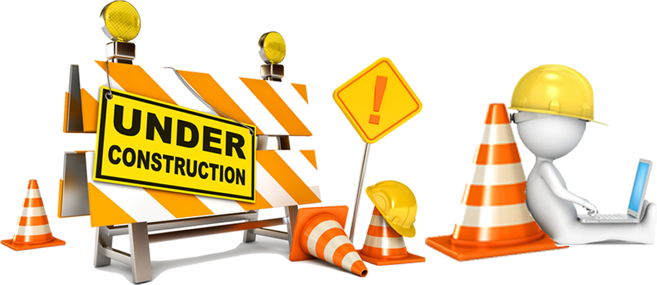 Page Under Construction - Under Construction Sign Png (1366x600), Png Download