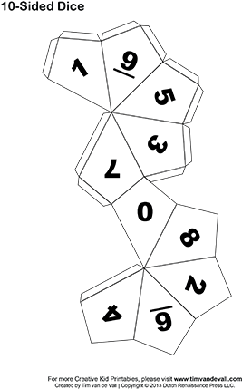 Templates For Making Your Own 6, 10, And 12 Sided Dice - Origami 10 Sided Dice (350x453), Png Download
