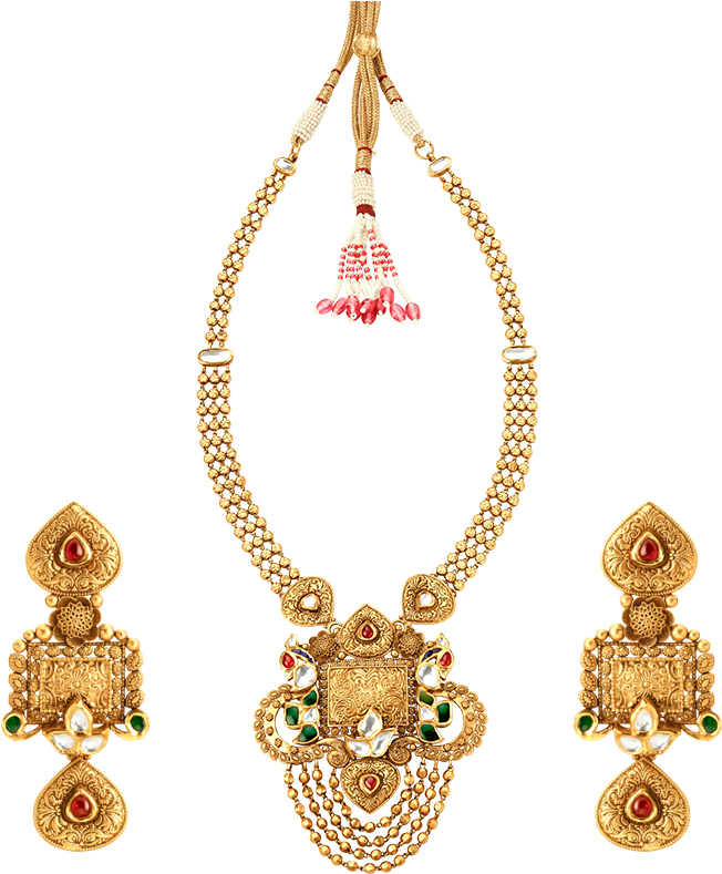 Download Tanishq Rivaah Glass Kundan Gold Neckwear Set Jewellery