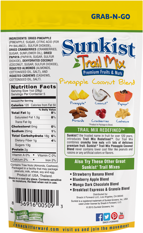 Sunkist Pineapple Coconut Premium Fruit & Nut Trail - Sunkist Trail Mix, Strawberry Banana Blend - 5 Oz (1000x826), Png Download