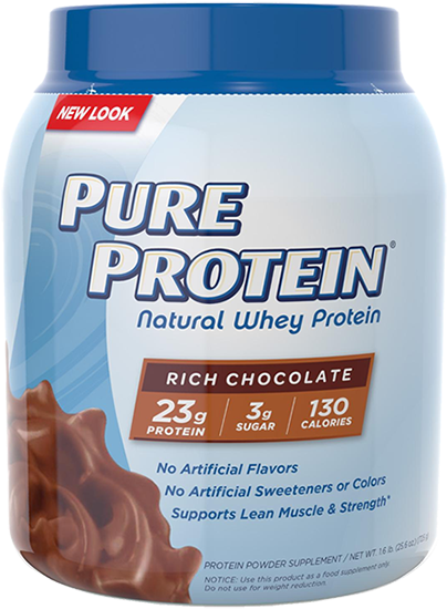 At A Glance - Pure Protein Natural Whey Protein (590x590), Png Download