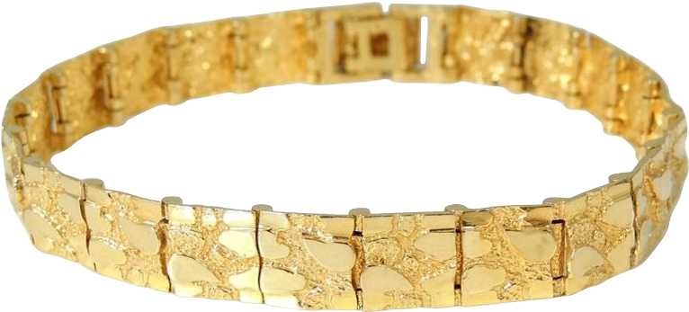 14k Gold Nugget Bracelet Men S Solid Yellow Diamond Cut