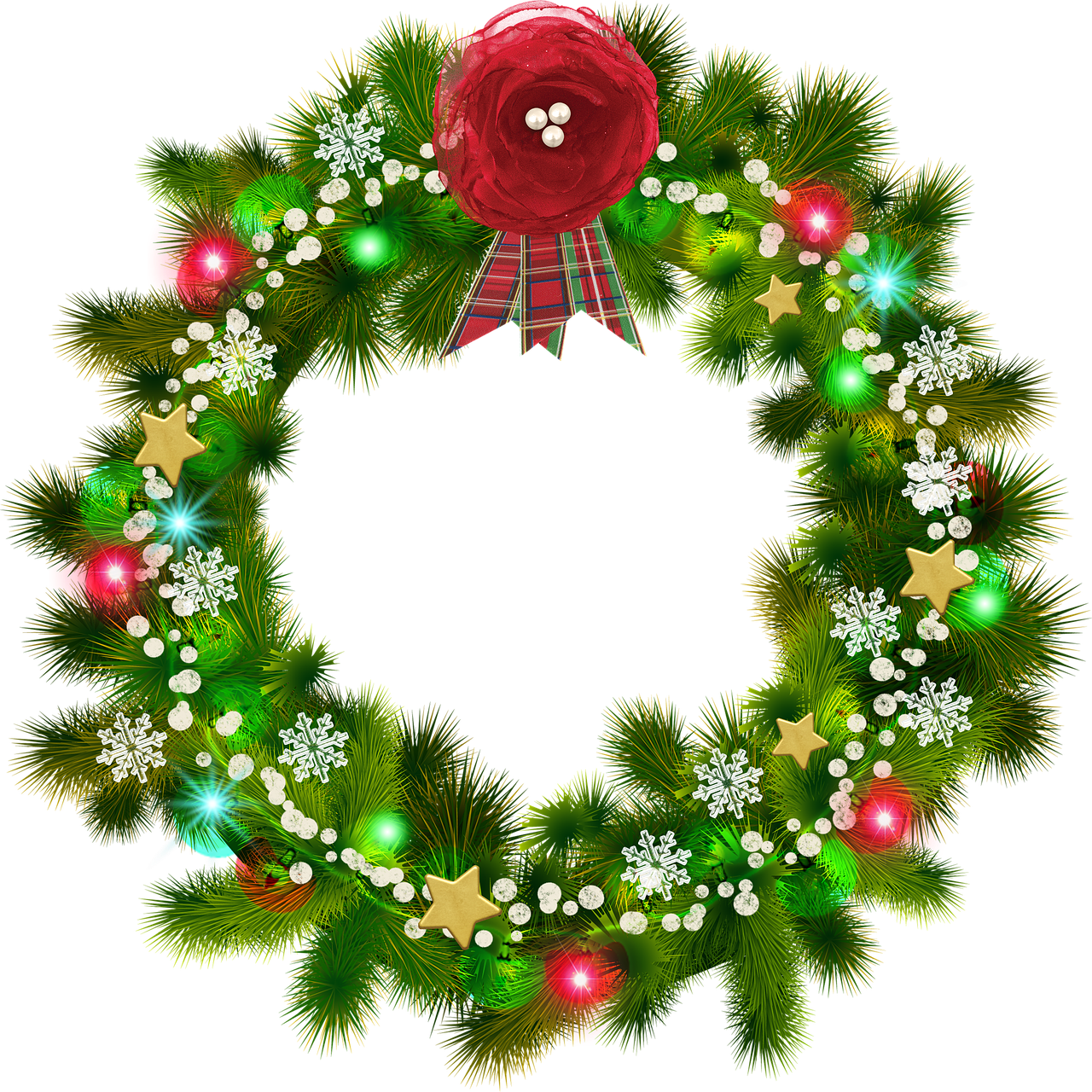 Christmas Wreath, Red Flower, Christmas Snow - Christmas Wreath (720x720), Png Download