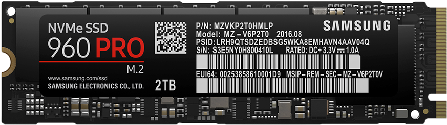 Samsung 960 Evo Nvme Ssd - Samsung 960 Pro M 2 (1008x310), Png Download