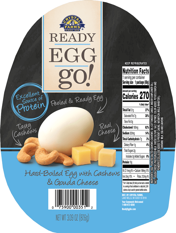 Hard-boiled Egg With Cashews & Gouda Cheese - Crystal Farms Ready Egg Go, With Cashews (613x810), Png Download