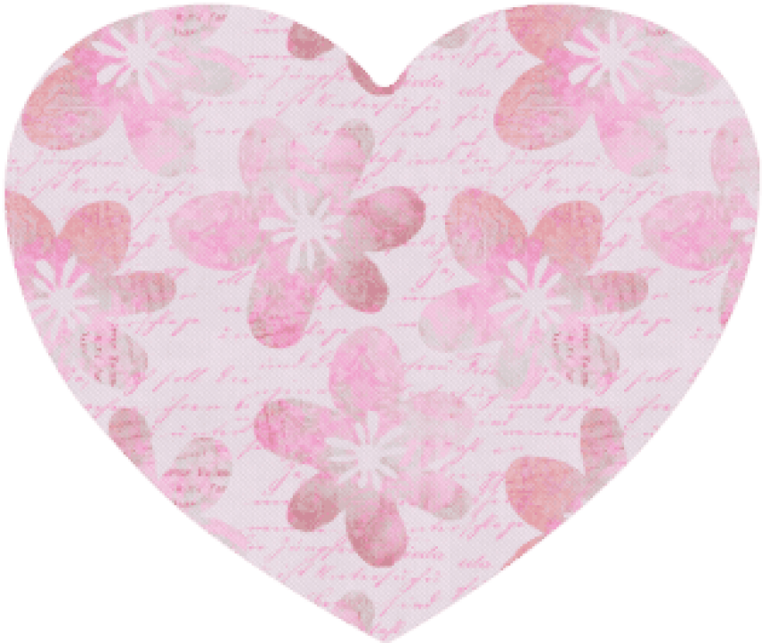 Download Watercolor Flower Pattern Heart-shaped Mousepad