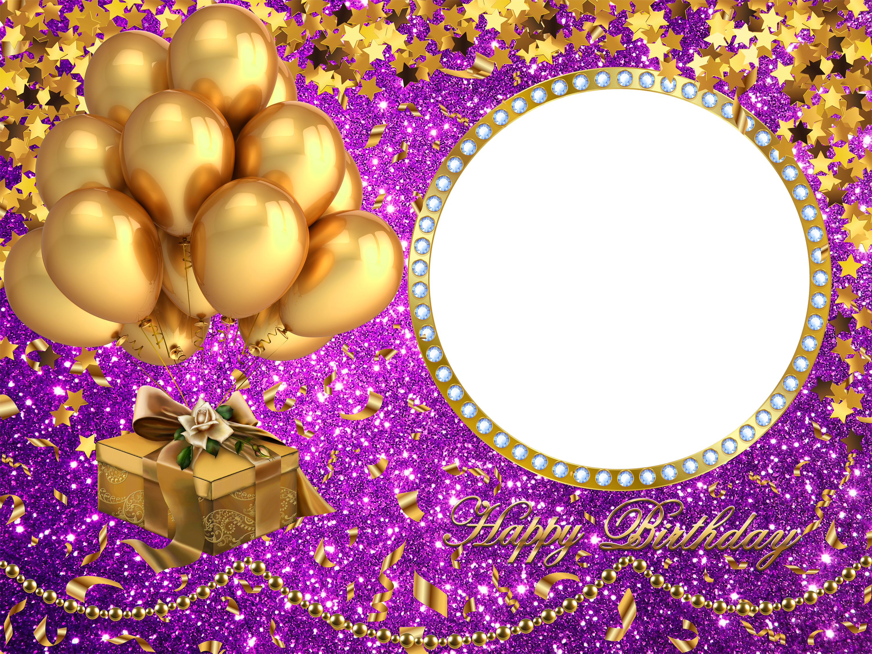 Happy Birthday Transparent Frame Gold (3000x2250), Png Download