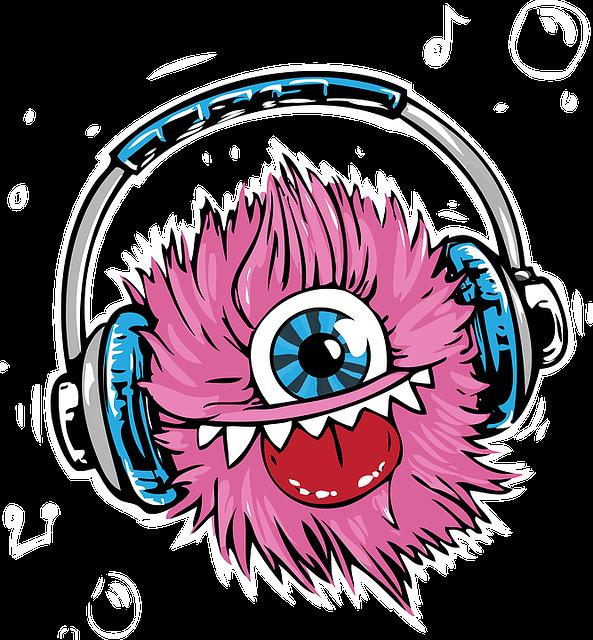 Monster, Headphones, Headset, Listen, Smile, Music - Monster Listen To Music (593x640), Png Download