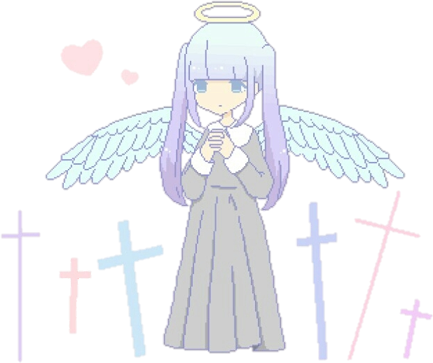 Download Cute Kawaii Anime Girl Wings Angel Pixel Cross Heart