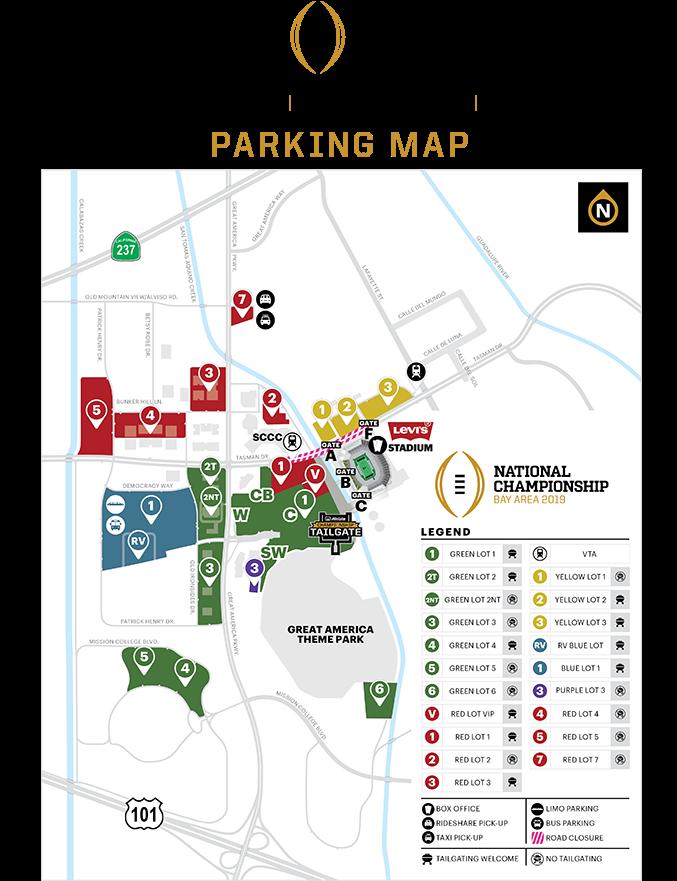 Download 2019 Cfp Levi's Stadium Parking Map - College Football