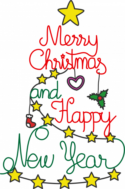 Clip Art Download Nice Coloring Pages For - Merry Christmas And Happy New Year Clipart (429x650), Png Download