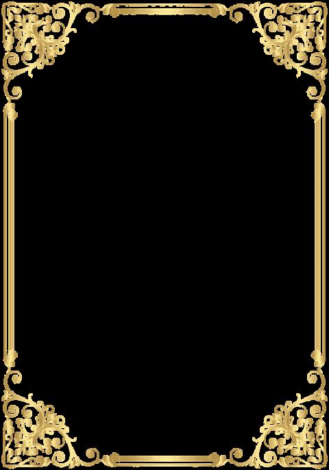 Download Deco Frame Border Golden Png - Elegant Gold Page ...
