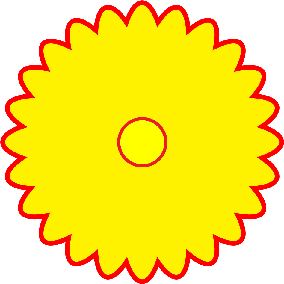 Download Free Logo Yellow Flower Shaped Red Outline Png Format