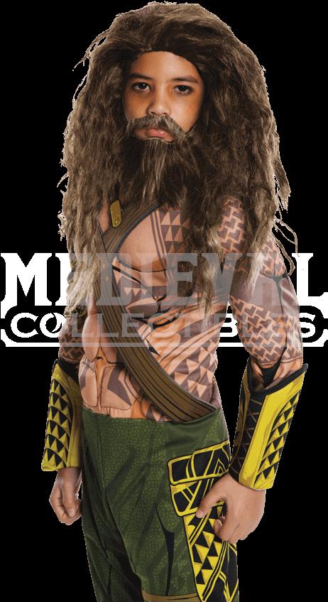Kids Dawn Of Justice Aquaman Wig And Beard Set - Aqua Man Costume Kids (850x850), Png Download