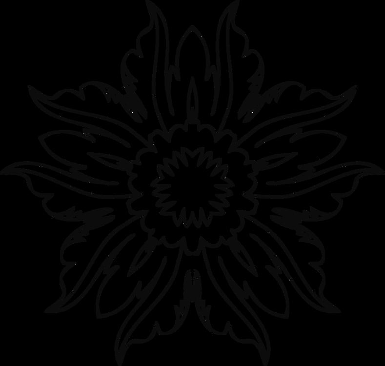 Flower Line Art Wikiclipart - Flower Line Art Png (768x730), Png Download